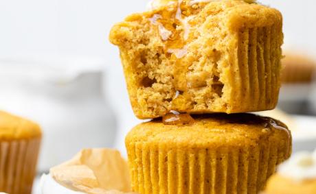 Brown Butter Honey Pumpkin Cornbread Muffins
