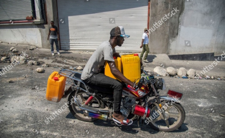Motorcyclists protest against fuel shortage in Haiti, again